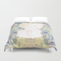 marie antoinette Duvet Covers featuring MARIE ANTOINETTE by Itxaso Beistegui Illustrations