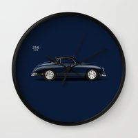 porsche Wall Clocks featuring Porsche 356 by Mark Rogan