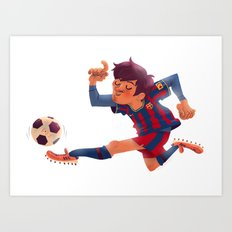Lionel Messi, Barcelona Jersey Art Print
