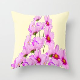 PINK COSMOS GARDEN FLOWERS ON CREAM COLOR Throw Pillow