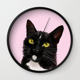 Black Cat in Pink Wall Clock