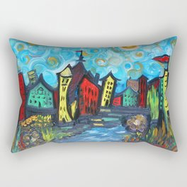 Primary color Cityscape Rectangular Pillow