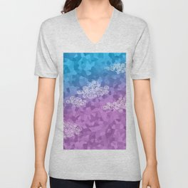 Abstract clouds - dudle on colorful background Unisex V-Neck