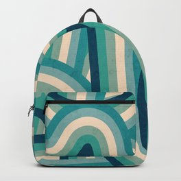 Teal Vintage Faded 70's Style Rainbow Stripes Backpack