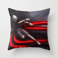 tokyo ghoul Throw Pillows featuring Tokyo Ghoul: Kaneki by Arnix