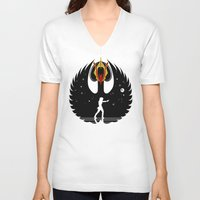 swan queen V-neck T-shirts featuring Queen Swan by zerobriant