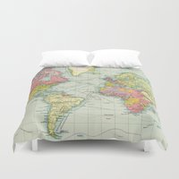 political Duvet Covers featuring Vintage Political Map of The World (1922) by BravuraMedia