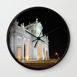 Puerta de Alcala of night in Madrid, Spain. Wall Clock