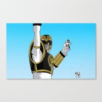 power ranger Canvas Prints featuring White Ranger Tiger Power by Will Burton