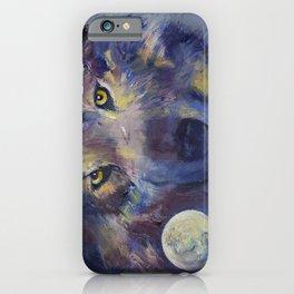 Grey Wolf Moon iPhone Case