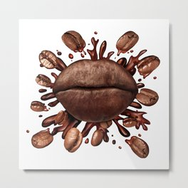 Coffee Lips Metal Print