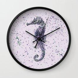 Purple Watercolor Seahorse Wall Clock