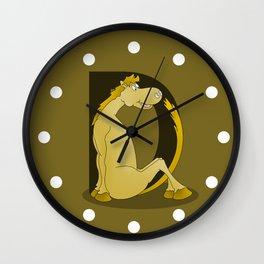Pony Monogram Letter D Wall Clock