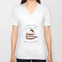 nutella V-neck T-shirts featuring Nutella Ho Hey by Tyler Feder