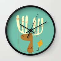 moose Wall Clocks featuring A moose ing by Picomodi