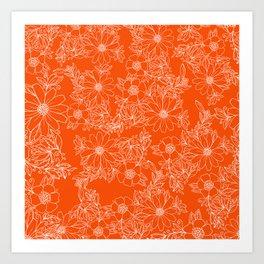 Hand drawn white bright orange modern floral Art Print