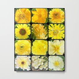 Yellow Flowers Abstracted Metal Print