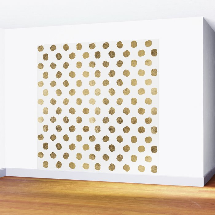 Luxurious faux gold leaf polka dots brushstrokes Wall Mural