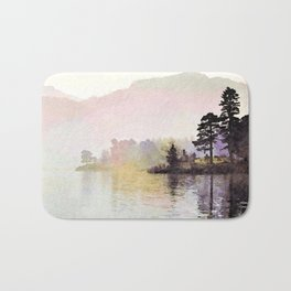 Pines along the Lake in the Mist, Lake District, UK. Watercolor Painting Bath Mat