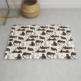 Gouache Black Cats & Coffee Rug