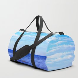 blue ocean view with blue cloudy sky in summer Duffle Bag