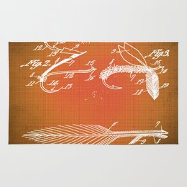 Fly Fishing Bait Patent Blueprint Drawing Sepia Rug
