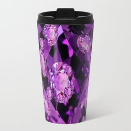 GALAXY OF PURPLE AMETHYST FACETED JEWEL GEMS BIRTHSTONE Travel Mug