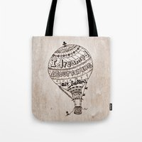ballon Tote Bags featuring Hot Air Ballon by violart