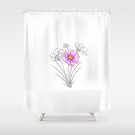 Cosmos Flower Drawing Shower Curtain