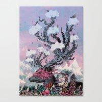 Canvas Prints featuring Journeying Spirit (deer) sunset by Mat Miller