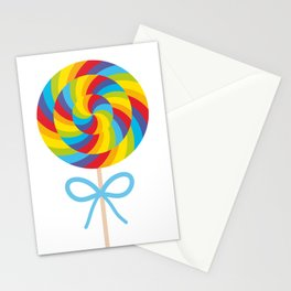 candy lollipop with bow, colorful spiral candy cane Stationery Cards