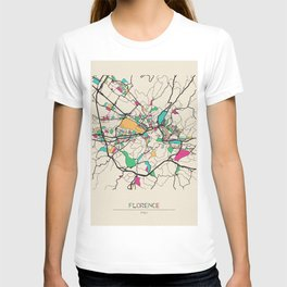 Colorful City Maps: Florence, Italy T-shirt