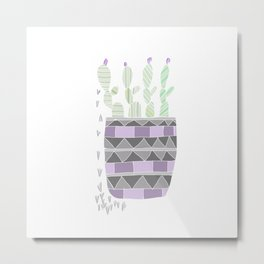 Potted Patterned Cacti Metal Print