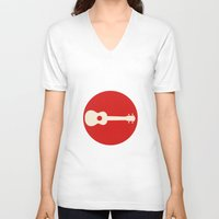 guitar V-neck T-shirts featuring Guitar by Ersen-T