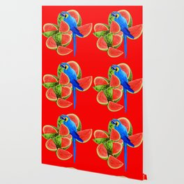 ABSTRACT RED WATERMELON & BLUE MACAW PARROT Wallpaper