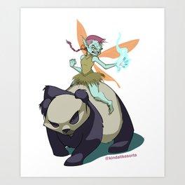 Pixie on a Panda! Original Art Print