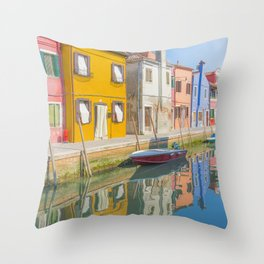 colourful fishermen houses in Burano Venice Italy Throw Pillow