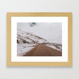 Amazing road and Snow capped mountains in leh-ladakh Framed Art Print
