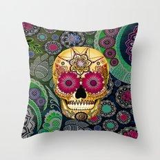 Sugar Skull Paisley Garden - Colorful Floral Sugar Skull Art Throw Pillow