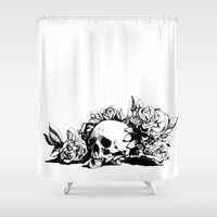 hamlet Shower Curtains featuring Hamlet Skull by Alex Moon