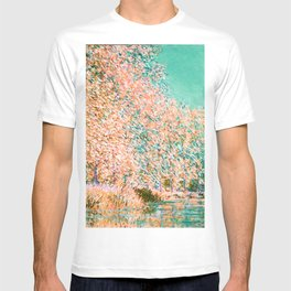 Monet : Bend in the River Epte 1888 peach teal T-shirt