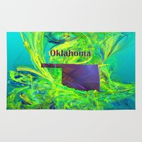 oklahoma Area & Throw Rugs featuring Oklahoma Map by Roger Wedegis