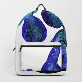 Double Exposure Paw and Wolves under the Moonlight in Watercolor Backpack