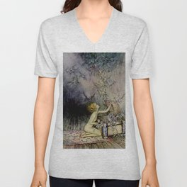 """Pandora Opens the Box"" by Arthur Rackham Unisex V-Neck"