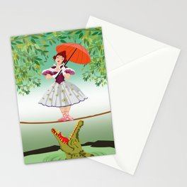 The Umbella girl With crocodile Stationery Cards
