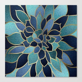 Festive, Floral Prints, Navy Blue, Teal and Gold Canvas Print