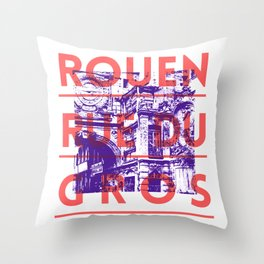 Rouen rue du Gros Throw Pillow