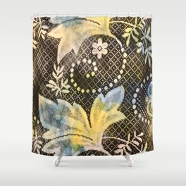 Costa Rica Lace, black, yellow, blue  Shower Curtain