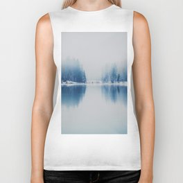 Icy Forest on Water (Color) Biker Tank