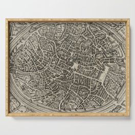 Vintage Map of Bruges Belgium (1612) Serving Tray